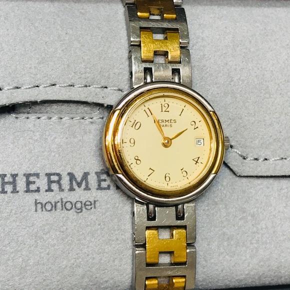 HERMÈS Women's Clipper Two-Tone Watch w box